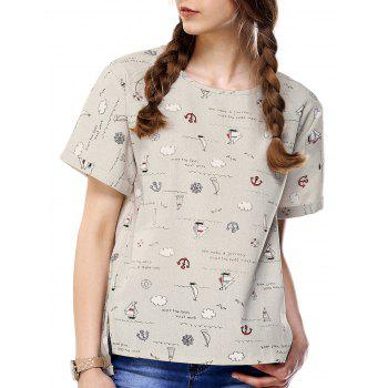 Cartoon Print High Low T-Shirt