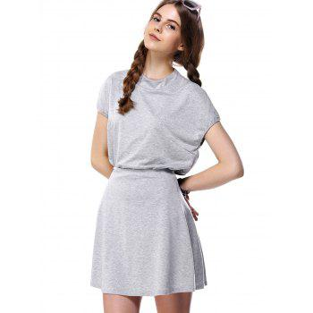 Stand Collar Solid Color Two Piece Dress - GRAY GRAY