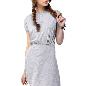 Stand Collar Solid Color Two Piece Dress - GRAY S