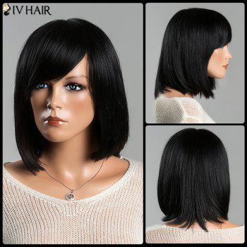 Women's Stunning Medium Straight Side Bang Siv Human Hair Wig