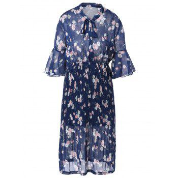 Vintage Short Sleeve Floral Print Pleated Dress