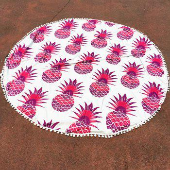 Cool Summer Pineapple Pattern Small Pompon Tassel Yoga Mat Gypsy Cotton Tablecloth Round Beach Throw - RED