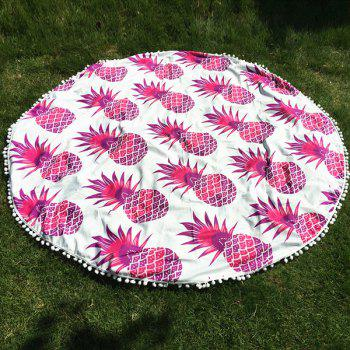 Cool Summer Pineapple Pattern Small Pompon Tassel Yoga Mat Gypsy Cotton Tablecloth Round Beach Throw - RED RED