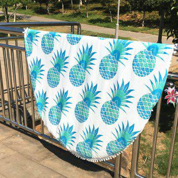 Cool Summer Pineapple Pattern Small Pompon Tassel Yoga Mat Gypsy Cotton Tablecloth Round Beach Throw - LIGHT GREEN