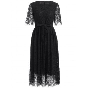 Belted High Waisted Midi Lace Dress