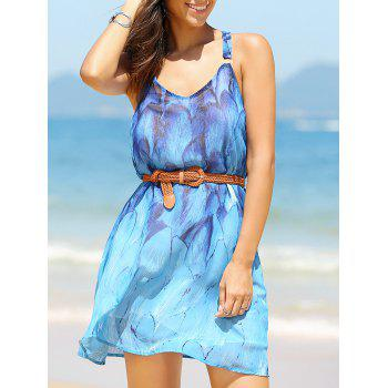 Cool and Fresh Tie Belt Print Dress