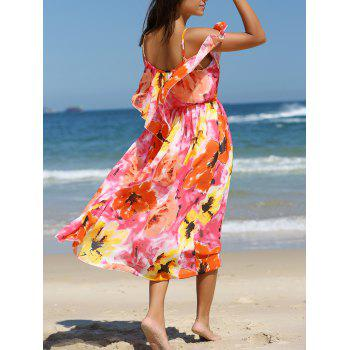 Colorful Floral Print Overlay Chiffon Dress