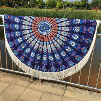 Cool Summer Mandala Printed Tassel Yoga Mat Gypsy Cotton Tablecloth Round Beach Throw