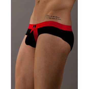 Color Blocks Low Waist U Pouch T-Back For Men - BLACK M