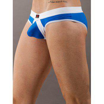 Color Blocks Low Waist U Pouch T-Back For Men - BLUE BLUE