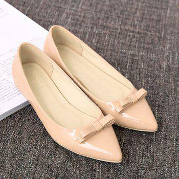 Ladylike Patent Leather and Bow Design Women's Flat Shoes