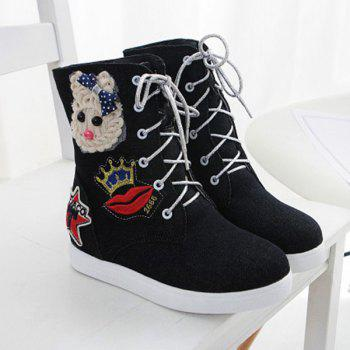 Fashion Lace-Up and Appliques Design Women's Short Boots - BLACK 38
