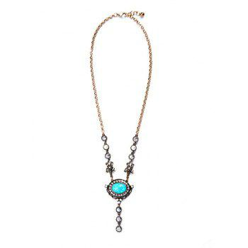 Oval Faux Turquoise Pendant Necklace