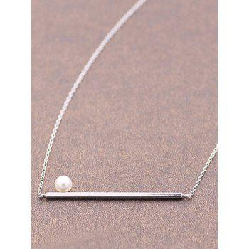 Bar Faux Pearl Necklace - SILVER