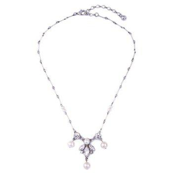 Faux Pearl Leaf Rhinestone Necklace