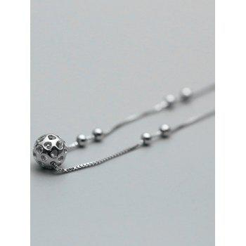 Stylish Hollowed Ball Anklet -  SILVER