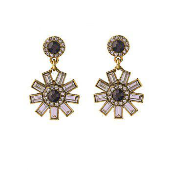Buy Cut Flower Rhinestone Earrings GOLDEN