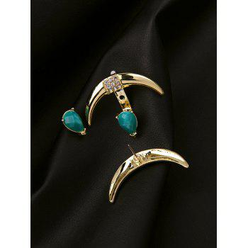 Fuax Turquoise Moon Rhinestone Earrings - GOLDEN
