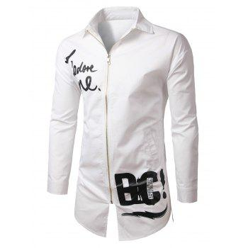 Zip-Up Letter Print Turn-Down Collar Long Sleeve Lengthen Men's Jacket