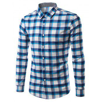 Stylish Turn-Down Collar Plaid Pattern Long Sleeve Men's Shirt