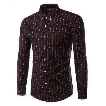 Turn-Down Collar Geometric Vertical Stripe Long Sleeve Button-Down Men's Shirt