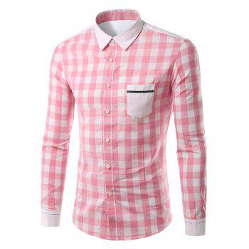 Pocket Splicing Turn-Down Collar Plaid Pattern Long Sleeve Men's Shirt
