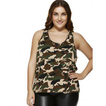 Plus Size Camouflage Print Racerback Tank Top