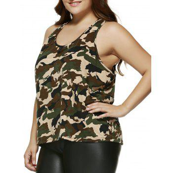 Plus Size Camouflage Print Racerback Tank Top - CAMOUFLAGE 2XL