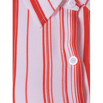 Women's Fashionable High Low Striped Knot Front Shirt - STRIPE L