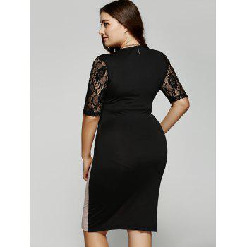 Plus Size 1/2 Sleeves V-Neck Splice Lace Dress - 3XL 3XL