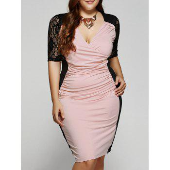Plus Size 1/2 Sleeves V-Neck Splice Lace Dress - PINK 3XL