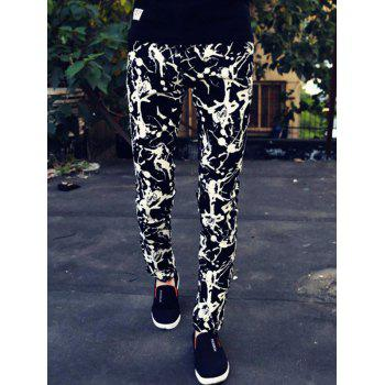 Abstract Print Zipper Fly Skinny Men's Tapered Pants
