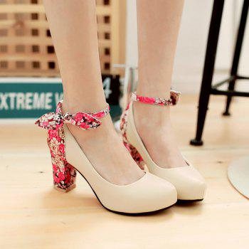 Stylish Splicing and Floral Print Design Women's Pumps
