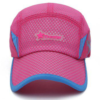 Fashion Star Letter Rubber Breathable Sport Baseball Hat - ROSE
