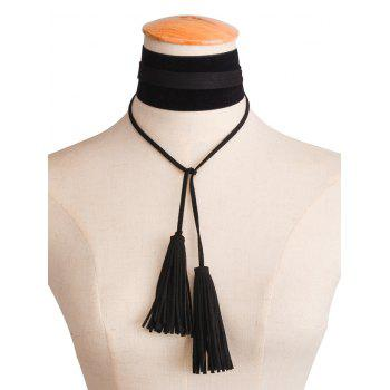 Tassel Velvet Necklace - BLACK