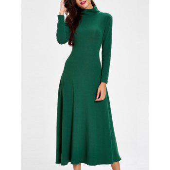 Trendy Turtle Neck Cut Out Solid Color Women's Dress