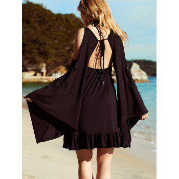 Open Back Flare Sleeve Flounce Dress - BLACK M
