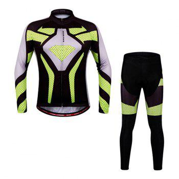Fashionable Autumn  Spring Sportwear Long Sleeve Cycling Set For Unisex - YELLOW/BLACK XL