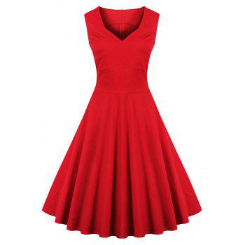 Vintage Sweetheart Collar Bridesmaid Flare Dress