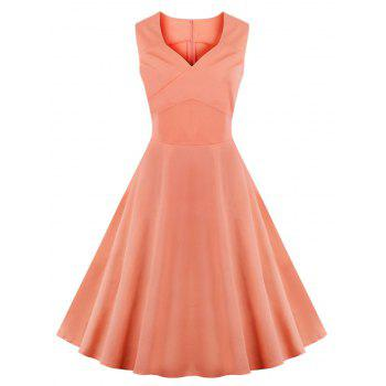 Vintage Sweetheart Collar Pure Color Flare Dress