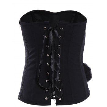 Sexy Strapless Lace-Up Flower Pattern Women's Corset - BLACK S