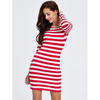 Striped Double-Wear Cut Out Bandage Long Sleeve Dress - RED 2XL