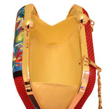Ethnic Embroidery and Chain Design Women's Evening Bag - RED