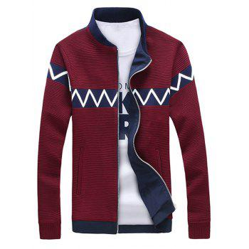 Zigzag Splicing Ribbed Zip Up Long Sleeve Jacket