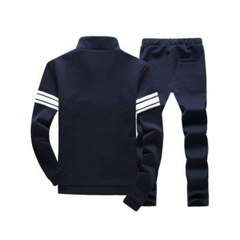 Plus Size Stand Collar Long Sleeve Stripe Zip-Up Men's Suit ( Sweatshirt + Pants ) - CADETBLUE 3XL