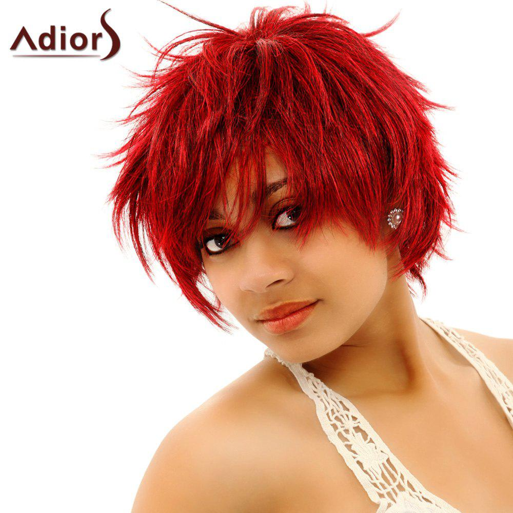 Fashion Women's Short Fluffy Red Ombre Side Bang Synthetic Hair Wig