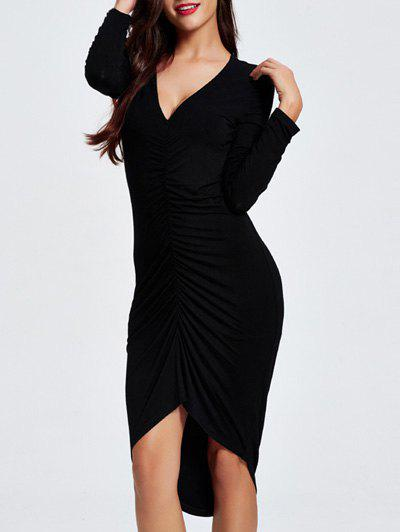 Chic Plunging Neck Ruched Asymmetrical Women's Dress