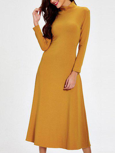 Trendy Turtle Neck Cut Out Solid Color Women's Dress - EARTHY 2XL