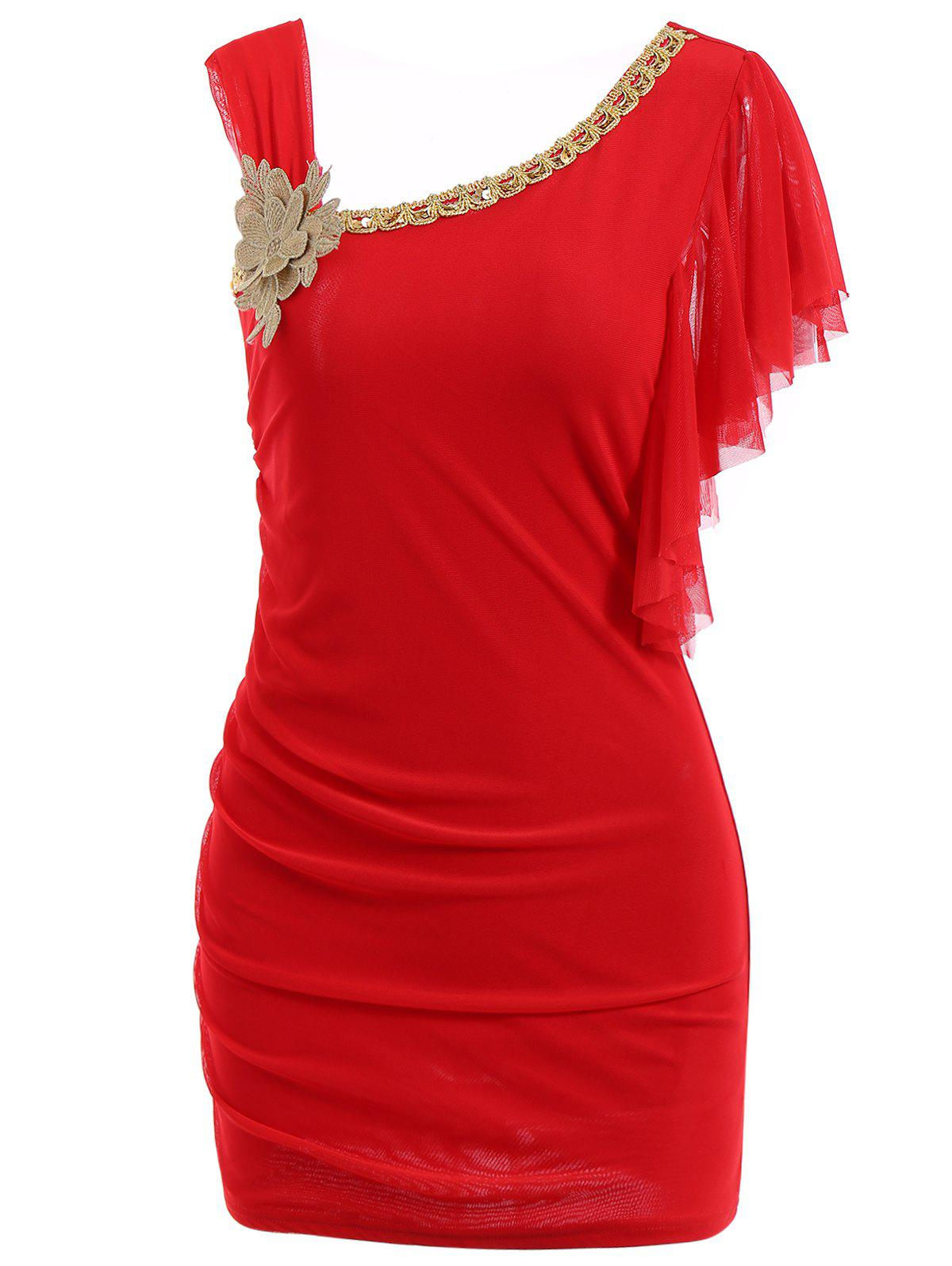 Women's Chiffon Solid Color Ruffles Flounces Beam Waist Packet Buttock Chain And Corsage Embellished Stylish Dress - RED ONE SIZE