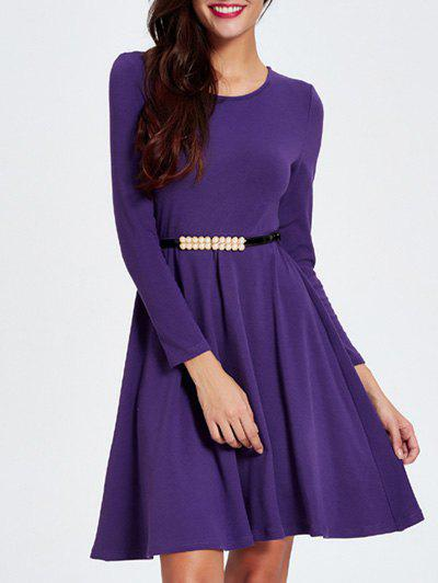 Long Sleeve Slimming A Line Dress - PURPLE 2XL